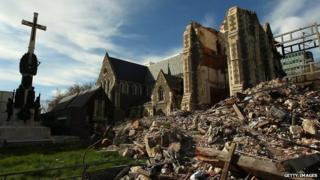 Christchurch cathedral seen soon after the 2011 earthquake