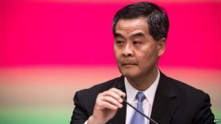 Hong Kong's Chief Executive Leung Chun-ying addresses a press conference in Hong Kong