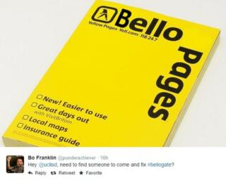 A copy of the Yellow Pages, with the word 'Yellow' changed to 'Bello'