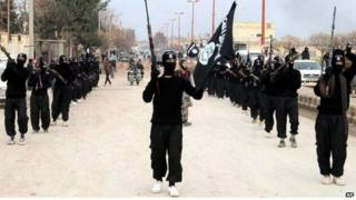 IS fighters in Raqqa - photo posted on Islamist website January 2014