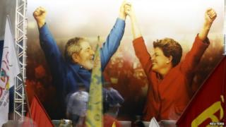 A poster of Brazil's President Dilma Rousseff (right) and former leader Luiz Inacio Lula da Silva in Sao Paulo. Photo: 9 October 2014