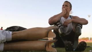 Oscar Pistorius, rests after a training session in Pretoria, South Africa - 2007