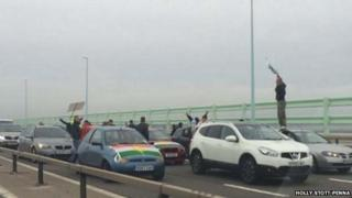 Protest on the M4