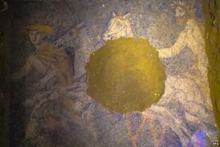 An undated handout provided by the Greek Ministry of Culture on 12 October 2014 shows a floor mosaic discovered in the ancient Amphipolis tomb in northern Greece.