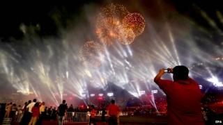 Fireworks light the sky over Salt Lake stadium in Calcutta, India, 12 October 2014, prior to the opening match of the Indian Super League