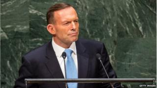 Prime Minister of Australia Tony Abbott speaks at the 69th United Nations General Assembly on 25 September 2014 in New York City