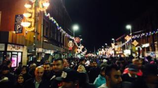 Leicester Diwali light switch on 2014