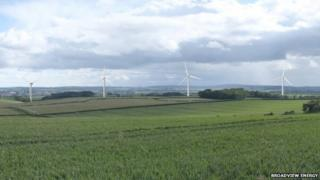 An impression of the Slyer's Lane wind farm from the B3143 at Waterston Ridge
