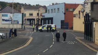 The area around Dunluce Street in Larne, County Antrim, has been cordoned off