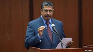 Khalid Mahfouz Bahah addresses parliament in Sanaa Yemen on 19 May 2014