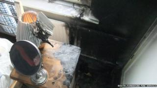 The aftermath of a fire started by a mirror