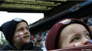 Two young Aston Villa fans