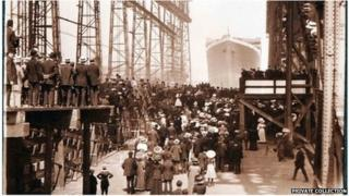 The Titanic leaves the Belfast dock