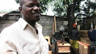 Dixon Makela at his coffin workshop