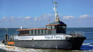 Nauti ferry publicity photo with mock-up logos