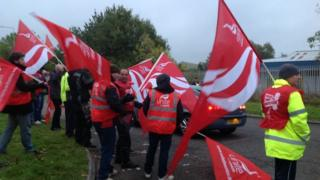 Staff on strike in Donnington