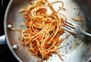 Left-over spaghetti