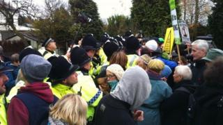 Police at the anti-fracking protests in Barton Moss