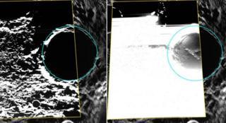 Ice in Mercury crater