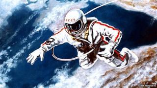 Artwork by Alexei Leonov of his first spacewalk in 1965