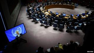 UN Ebola mission chief Anthony Banbury speaks to the UN Security Council in New York via a video link - 14 October 2014