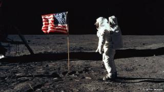"""Astronaut Edwin """"Buzz"""" Aldrin appeared on the moon on 20 July 1969"""