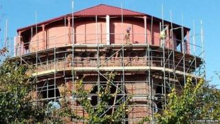 Scaffolding on Wessex Water's tower on Wessex Road in Dorchester