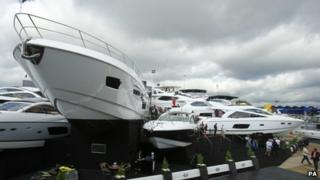 Sunseeker display at Southampton International Boat Show