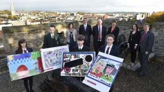 Pupils from local schools showcased artwork that will form part of the hoarding for the site