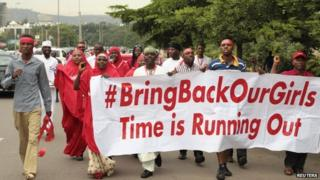 Campaigners in Abuja march during a rally for the release of the schoolgirls abducted by Boko Haram. Photo: 17 October 2014