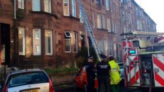 Scene at fire in Bolton Drive, Glasgow