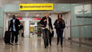 International arrivals at Gatwick airport