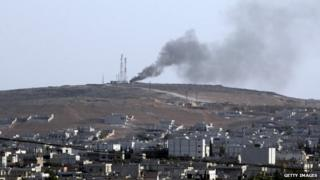 Air strike in Kobane, 7 October 2014