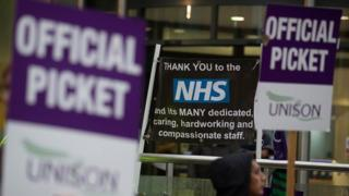NHS strike picket from England