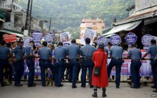 A protest near the Hall of Justice in Olongapo