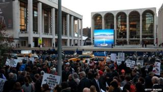 Protests outside Met Opera New York