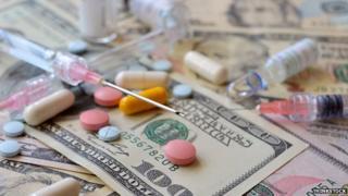 Medicines and dollar bills