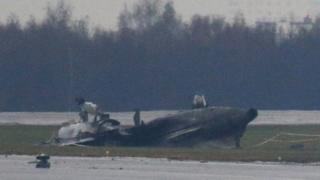 Wreckage of the Dassault Falcon plane at Vnukovo airport (22 Oct)
