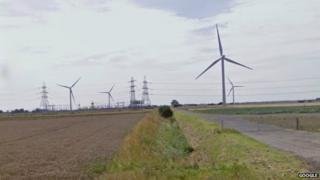Pylons and turbines on Bicker Fen, near Boston