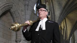 Sergeant-at-Arms Kevin Vickers is pictured in the Hall of Honour on Parliament Hill in Ottawa in this file photo from March 25, 2011.