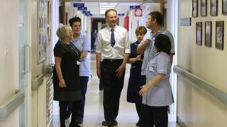 Simon Stevens visits a hospital