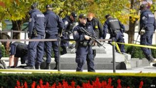 Police continue to investigate at the National War Memorial in Ottawa, Canada - 23 October 2014