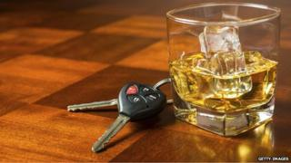 glass of whisky and car keys
