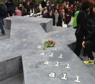 The concrete X-shaped memorial in Vienna (24 Oct)
