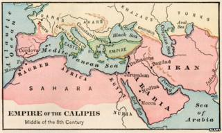"Map entitled ""Empire of the Caliphs Middle of the 8th Century"""