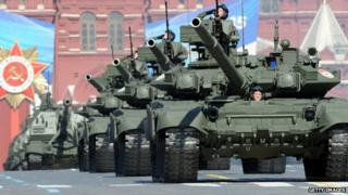 A column of Russian tanks roll through Red Square in 2013.