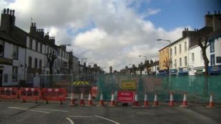 Roadworks on Main Street, Cockermouth