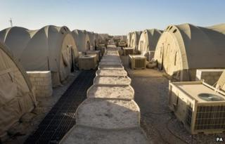Soldiers' tented accommodation is left deserted in Camp Bastion, Afghanistan, after British troops handed Camp Bastion over to Afghan forces