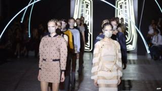 Models present creations for Masha Ma in Paris