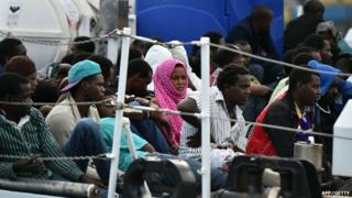 Migrants on a coast guard boat in Palermo